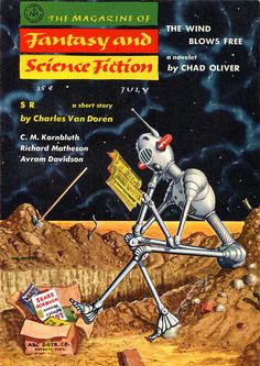 The Magazine of Fantasy and Science Fiction, July 1957. Cover by Mel Hunter.