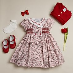 Red Tulip Inspired Outfit for GirlsYou can find Little girl dresses and more on our website.Red Tulip Inspired Outfit for Girls Baby Dress Design, Baby Girl Dress Patterns, Baby Clothes Patterns, Frock Design, Sewing Patterns, Little Girl Fashion, Toddler Fashion, Fashion Kids, Fashion Fashion