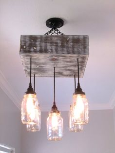 Mason Jar Chandelier Square / Ceiling by OutoftheWdworkDesign