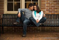 Couple on a Bench ::   A couple sits on a bench in a quite corner of a college campus for a J. Crew inspired engagement portrait   - by Jared M. Burns Photography www.jaredmburns.com