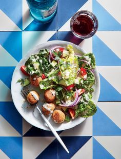 "Chickpea ""Meatballs"" with Crunchy Romaine Salad 