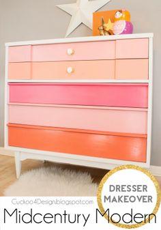 MCM Dresser Makeover!  Love the colors!