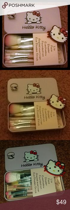Hello Kitty bundle Hello Kitty bundle A Hello Kitty makeup kit Hello Kitty ring size 5 Hello Kitty keychain, can be used as a bag charm or key holder as well. Everything is brand new!  fast shipper, firm price Hello Kitty Makeup Brushes & Tools