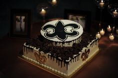 New Orleans Saints Groom's Cake- Red Velvet with Cream Cheese Icing