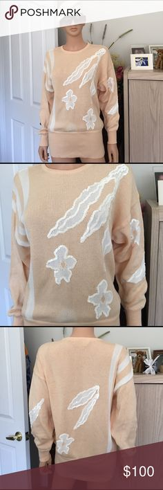 💐ESCADA..vintage..peach white sequins sweater ESCADA... vintage, quality Escada cotton and rayon sweater in soft peach with white sequin detailing, no sequins missing, European size 38, US size 8, excellent condition, no trade, no pp, smoke and pet free environment Escada Sweaters Crew & Scoop Necks