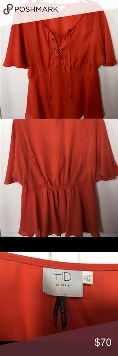 Anthropologie Palo Alto blouse Darling, orange blouse with A- line drape and lace up front. Very flattering fit over the bust. Super comfortable and flow-y! Only worn once!!! HD in Paris Tops Blouses