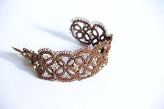 Bangle beads bracelet tatting filigree by TheVictorianLace on Etsy, €19.00