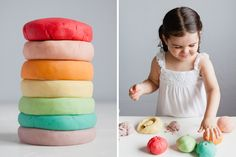 """This homemade play dough recipe is dyed with various flavors of JELLO and comes out in the prettiest pastels, smells amazing and """"feels the closest to store bought Play Doh of all the recipes [we've] tried."""" Such a perfect March family activity. [Modern Parents Messy Kids]"""