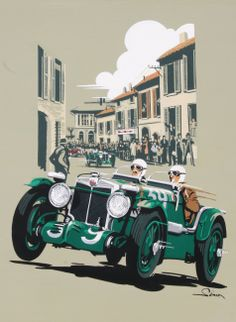 Mille Miglia MG Vintage Style Poster by © Dennis Simon. This poster is… Poster Vintage, Vintage Art, Vintage Style, Fantasy Anime, Mg Cars, Automobile, Morris, British Sports Cars, Car Illustration