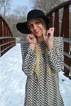 Patterned dress & Floppy hat || ASplashOfBlonde.com