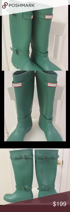 Hunter Limited Ankle-Knee Strap Green Rain Boots Very Rare Hunter Limited  Edition Ankle-