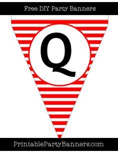 Red and White Pennant Horizontal Striped Capital Letter Q