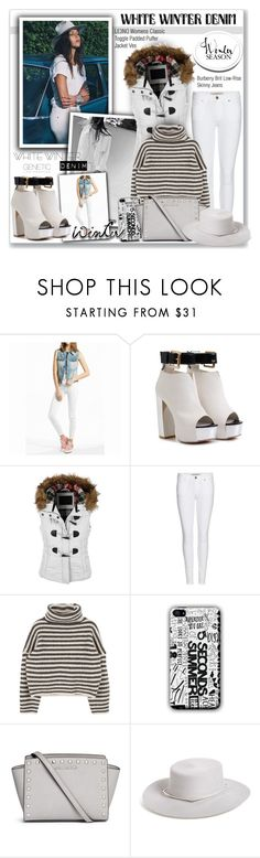 """""""On Trend: Winter White Denim"""" by sweetsely ❤ liked on Polyvore featuring LE3NO, Burberry, Michael Kors, Genetic Denim, messengerbags, highwaistedjeans, winterwhite, widebrimhats and puffervests"""