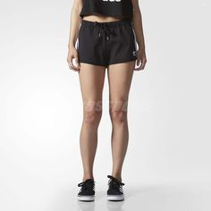 Adidas Originals Women Slim Shorts Trefoil 3-Stripes Sports Black White Ay8125