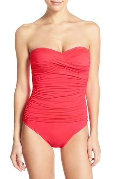 La Blanca Twist Front Bandeau One-Piece Swimsuit available at #Nordstrom