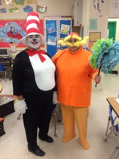 The cat in the hat. The lorax. Dr Seuss teacher costumes for book week.
