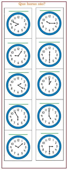 Dê a hora de cada relógio | Sala de Aula – Profª Rérida Learning Time Clock, English Grammar Book, Math Drills, Co Teaching, School Labels, School Calendar, 2nd Grade Math, Kindergarten Worksheets, New Words