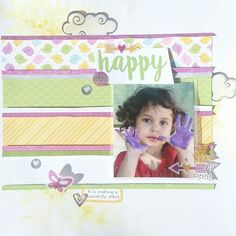 Single page Scrapbook Layout with CTMH Penelope paper pack