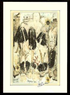 Pressed mushroom botanic collage giclee print card by judyorcutt, $5.25