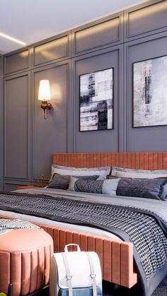 Bedroom Wall Designs, Bedroom Furniture Design, Home Room Design, Master Bedroom Design, Bedroom Styles, Tv Unit Interior Design, Luxury Interior Design, Modern Interior, Interior Architecture