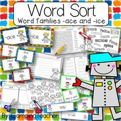 Word Sort for word families ace and ice Harcourt Trophies Story My Robot by Camping Teacher Comprehension Activities, Phonics Activities, Classroom Activities, Classroom Ideas, Teaching Language Arts, English Language Arts, Teachers Pay Teachers Free, Teaching Tools, Teaching Ideas