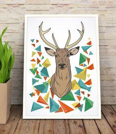 Cartel Ciervo Poligonos, Ilustración, Cuadro, Decoración, Lámina, Ciervo, Impresiones de GraphicHomeDesign en Etsy https://www.etsy.com/es/listing/242986644/cartel-ciervo-poligonos-ilustracion