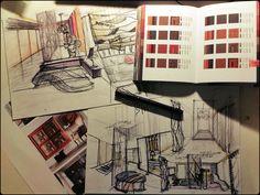 #Sketch #interior #colors #drawing #design #mood