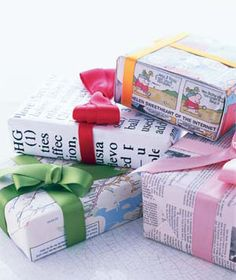 I love to save posters and maps and comics to use as gift wrap. It's a cheap giggle, and presents should start with a giggle. http://www.realsimple.com/new-uses-for-old-things/new-uses-holidays/use-newspaper-dictionary-pages-maps-as-wrapping-paper-00000000025624/index.html
