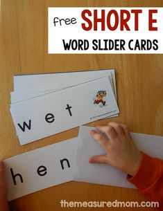 Practice sounding out short vowels with word slider card! Get this free set for short e and find links to all our other sets.