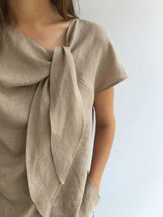 Light Linen Top Elegant Womens Top Linen blouse Linen Shirt Etsy - Plus Size Smart Outfit, Linen Blouse, Linen Shirts, Linen Shirt Dress, Linen Dresses, Plus Size Blouses, Mode Inspiration, Elegant Woman, Blouse Designs