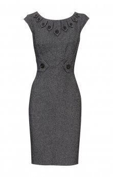 Gorgeous dress with a reasonable neckline for work! I love the button details on the collar.