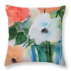 """Flower Bouquet Throw Pillow by Britta Zehm. Our throw pillows are made from 100% spun polyester poplin fabric and add a stylish statement to any room. Pillows are available in sizes from 14"""" x 14"""" up to 26"""" x 26"""". Each pillow is printed on both sides (same image) and includes a concealed zipper and removable insert (if selected) for easy cleaning."""