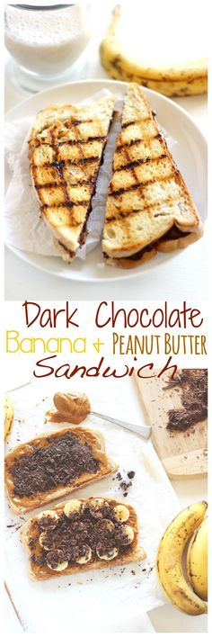 Grilled Chocolate Banana and Peanut Butter Sandwich. Melted dark chocolate, creamy peanut butter and sweet bananas all wrapped up in one sandwich. All this amazingness in each and every bite! neuroticmommy.com