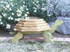 wooden turtle planter