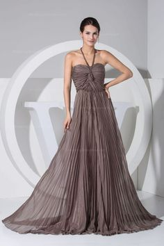 Halter neck pleated chiffon flowy a-line floor-length evening dress,$154.98