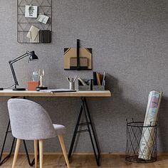 Empire papierpeint Vinyl Wallpaper, Textured Wallpaper, Fabric Textures, Khaki Green, Yellow, Linen Fabric, Office Desk, Decoration, Corner Desk