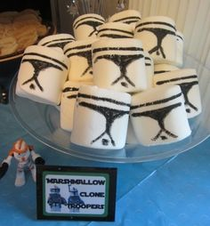 """Star Wars (Clone Wars) Party... Marshmallow Clonetroopers! (Did you know they make GIANT """"campfire marshmallows"""" and food markers??) - Crafty Party"""