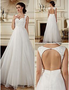 A Line Princess Straps Floor Length Organza Wedding Dress 2049176
