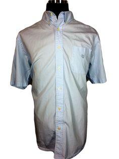 CHAPS Mens XL Casual Shirt Light Blue Textured Stripe Cotton Short Sleeve
