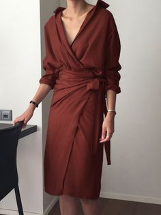 13cf139e8a V Neck Asymmetrical Belted Lazy Wrap Dress Long Sleeve Fall Dress | Talever