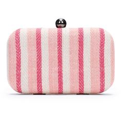 LOFT Warm Stripe Clutch ($40) ❤ liked on Polyvore featuring bags, handbags, clutches, candy coral, coral clutches, pink handbags, coral purse, retro purses and coral handbag