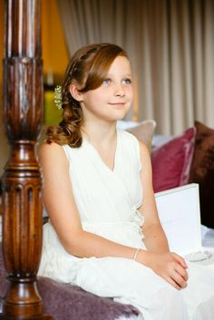 beautiful bridesmaids hair curls and braid styled by Roxy Farrier