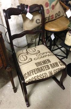 rocking chair with burlap coffee sack seat