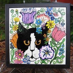 Tuxedo Cat in the Garden hand painted tile keepsake box. $65.00, via Etsy.