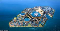 Amazing ocean metropolis Floating City concept, developed by AT Design Office, offers a solution to overcrowding in China. The Chinese construction firm CCCC… Futuristic City, Futuristic Architecture, City Ville, Floating Architecture, Eco City, Underwater City, Submarines, Future City, China