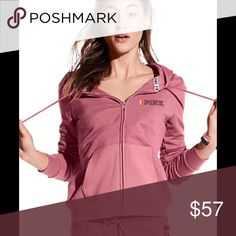 PINK Perfect full zip hoodie Perfection in a hoodie: super comfy, classic length and a cute slim fit. Only by Victoria's Secret PINK Slim fit Super soft fleece Imported cotton/polyester new in bag. PINK Victoria's Secret Tops Sweatshirts & Hoodies