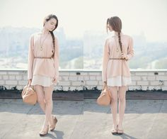 Style Inspiration: Topshop Nude Sweater, New Look Nude Skirt, Sheinside Brown Bag, Choies Brown Wedges Sandals
