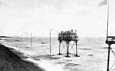 Victorian Electric Sea Railway. It does not look real but it was! Brighton, Sussex.