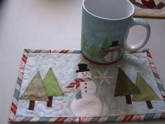 Mug Rug...matches the cup!  Could do this with dinner plates..