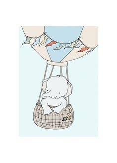 Elephant Adventure 5x7 Elephant Nursery Art by SweetMelodyDesigns, $10.00 Elephant Nursery Art, Baby Elephant, Nursery Wall Art, Nursery Ideas, Nursery Decor, Room Ideas, Balloon Rides, Air Balloon, Balloon Illustration
